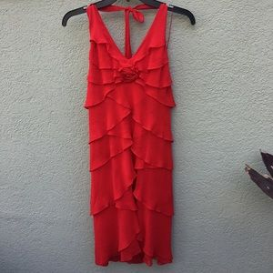 NWOT Cache red tiered silk dress